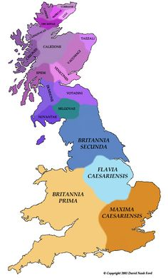 Map Britain 4th Century © Nash Ford Publishing EBK presents a map of Britain in the 4th century. This was a time when the Romans still ruled over most of Britain, dividing it into four provinces [Blue and Yellow]. They controlled a small area north of the eastern section of Hadrian's Wall, but the rest of the north was the domain of numerous British & Pictish tribes [Purple & Indigo].