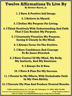 12 Affirmations to live by Positive Self Talk, Positive Life, Positive Thoughts, Positive Quotes, Positive Things, Morning Affirmations, Positive Affirmations, Mantra, Chakra