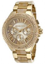 Michael Kors Camille Quartz Chronograph Champagne Dial Date Stainless Steel Watch #MK5902 (Women Watch)