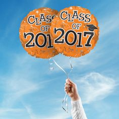 """Includes 2 Orange 17"""" round Class of 2017 graduation foil balloons. """"Class of 2017"""" is printed on both sides of the balloons. Use balloons for your graduation party centerpieces or balloon bouquets."""