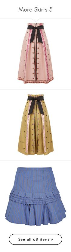 """""""More Skirts 5"""" by thesassystewart on Polyvore featuring skirts, bottoms, red, poppy skirt, red a line skirt, pink a line skirt, pink skirt, mid length skirts, brown and temperley london skirt"""