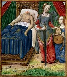 """""""Judith & Holofernes"""" Anonymus artist, From the Book of Judith, Illuminated manuscript Medieval Life, Medieval Art, Renaissance Art, Medieval Drawings, Medieval Paintings, Old Paintings, Medieval Manuscript, Illuminated Manuscript, Women In History"""