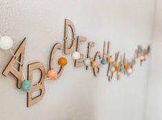 Playroom Signs, Playroom Storage, Playroom Decor, Boy Decor, Small Playroom, Modern Playroom, Kids Wall Decor, Playroom Ideas, Wooden Alphabet