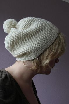hat with big bommle by cazcrafts, via Flickr - free Ravelry pattern