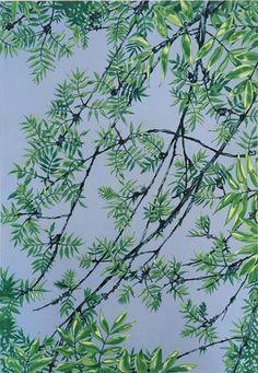 Ash, 2020, acrylic on canvas, 64 x 94 cm Original Art, Original Paintings, Nature Paintings, Buy Art, Saatchi Art, Plant Leaves, Blue Ash, Canvas Art, Green Nature