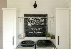 If you like Chip and Joanna Gaines like us, seeing the glint of their impressive farm on Fixer Upper tends to make you want more. His Victorian house is located on 45 beautiful acres in Crawford, Texas, a suburb… Continue Reading → Mudroom Laundry Room, Farmhouse Laundry Room, Laundry Room Design, Farmhouse Decor, Laundry Storage, Laundry Area, Modern Farmhouse, Farmhouse Small, Laundry Shelves