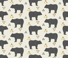 Fitted Crib Sheet Bears and Triangles - Woodland Crib Sheet - Forest Crib Sheet - Bear Baby Bedding- Crib Bedding-Baby Bedding- Geometric Boppy Pillow Cover, Baby Boy Bedding, Nursery Bedding, Crib Sheets, Triangles, Slipcovers, Spoonflower, Cribs, Cotton Fabric