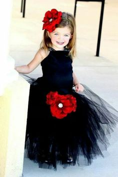 (Mystic Black Wedding Flower Gown) Queen of Hearts inspired magical black tutu dress. With this darling tutu and wings, any fairy princess can reign in style, fabric: Tulle that is soft yet crisp for skirt and stin touch top with satin straps. Red Flower Girl Dresses, Girls Tutu Dresses, Flower Girl Tutu, Tutus For Girls, Flower Girls, Dress Girl, Black Tutu, Dress Black, Red Tutu
