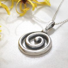 "Gorgeous patina on this vintage sterling silver Celtic spiral necklace (or ""circle of life"") is a stunning mix of traditional symbols and modern circle pendants. Silver Pendants, Sterling Silver Necklaces, Celtic Spiral, Gemstone Necklace, Pendant Necklace, Art Deco Jewelry, Bohemian Jewelry, Silver Charms, Vintage Silver"