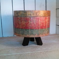 Not sure where this round wooden box came from it was in my shop this morning (mystery). Doing what I do I grabbed it waxed it up and made a #reclamedwood pedestal for it!! #Mystery  #wooden #storeage  #box #round  #pedestal #display #upcycle  #upcycledcraft  #reused  #homedecor by bigredscreationsplus