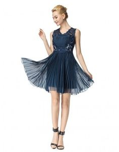 Fashion V-Neck Navy Blue Pleats Short Prom Homecoming Dress with Lace Beading