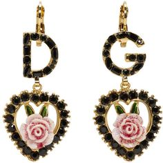Dolce and Gabbana Black DG Heart Earrings (€445) ❤ liked on Polyvore featuring jewelry, earrings, accessories, black, dolce gabbana earrings, swarovski crystal earrings, earring jewelry, heart shaped earrings and heart-shaped jewelry