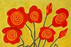 Large 16 x 21 Folk Art Flower Painting on by johnblakefolkartist John Blake, Painting On Wood, Folk Art, 21st, Flowers, Diy, Popular Art, Bricolage, Do It Yourself