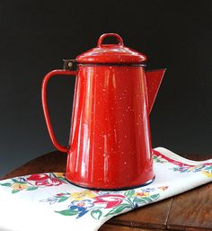 Enamelware Coffee Pot Graniteware Red White Speckles Country Farmhouse Shabby Cottage Vintage 1950s.