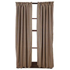 "Navy Check Scalloped Short Curtain Panels 63"" x 36"""