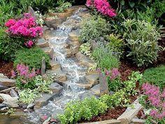 gartenideen wasserfall garten gestalten exterieur | Garten ...