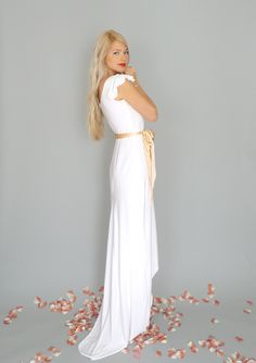 Marguerite: White boho sheath gown with high low hemline...