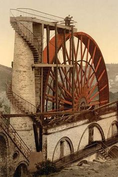 """Largest Working Waterwheel in the World at Laxey, the Isle of man, it is 72 feet tall and is an undershot wheel. It is known as the """"lady Isabella"""" and was used to pump water out of the mines."""