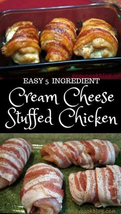 This Bacon Wrapped Cream Cheese Chicken is a taste sensation. It's one of our most favourited recipes and it is quick, easy and delicious. Meat Recipes, Low Carb Recipes, Cooking Recipes, Healthy Recipes, Top Recipes, Bacon Recipes Lunch, Meals With Bacon, Easy Yummy Recipes, Chicken Kitchen