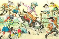 At the Rodeo Alfred Mainzer Dressed Cats Fantasy Postcard
