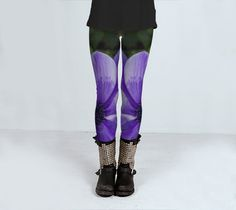 yoga leggings purple leggings fitness gym exercise wear S - L by ParadoxYoga on Etsy