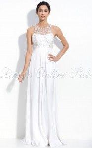 Sheath Floor-length Jewel White Dress