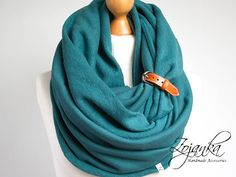 Infinity Scarf with leather cuff tube scarf with cuff