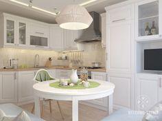 Светлая кухня с угловым диваном вокруг стола