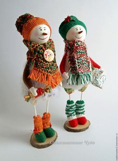 Человечки ручной работы. Ярмарка Мастеров - ручная работа. Купить Снеговички. Handmade. Оранжевый, Новый Год, снеговики, подарок на новый год