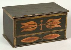Small Painted Pine Box Decorated with Tulips, probably Pennsylvania, early 19th century.