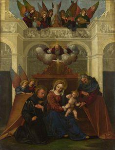 The Athenaeum - The Holy Family with Saint Nicholas of Tolentino (Ludovico Mazzolino - )