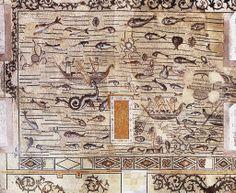 Decorazione musiva, IV d.C. Story of Jonah. Basilica Patriarcale di Santa Maria Assunta, Aquileia. Cultura cristiana romana.