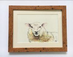 Sheep painting, nursery print, watercolour picture, a4 art, farmhouse decor, kids bedroom