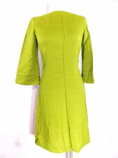 Pencil Dress Sz XS Bell Sleeve Green Mini Vintage 60s Pin Up Mad Men