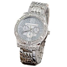 Elegant Ladies Geneva Crystal Stainless Steel Watches Women Sport Dress Analog Wristwatches Casual Watch Ladies Unisex Quartz Watches-silver Color - Jewelry For Her