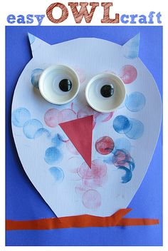 O for owl.easy owl craft for kids. Owl Crafts, Animal Crafts, Cute Crafts, Easy Crafts, Projects For Kids, Diy For Kids, Crafts For Kids, Arts And Crafts, Daycare Crafts