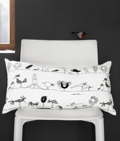 """ÖNSKEDRÖM Cushion, birds, white/black 12x24"""