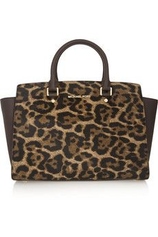 MICHAEL Michael Kors Selma large leopard-print calf hair and textured-leather tote | NET-A-PORTER