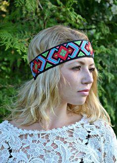 Aztec Geometric Tribal Headband Bohemian Indie by FeathersandFancy, $12.95