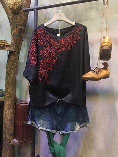 High-Quality Loose Embroidered Blouse Elegant Linen Designer Top    #elegant #embroidered #blouse #black #designer #top #tshirt #summer #amazing #vintage #linen