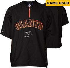 Madison Bumgarner San Francisco Giants Autographed Black Game Used Jacket without Sleeves and GU 14 Inscription