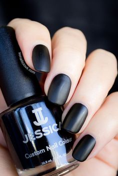 Jessica Black Beauties set includes stunning black glossy creme and black matte nail polish. Why buy the expensive Chanel Black Velvet, if we have Jessica? Mat Black Nails, Matte Black Nail Polish, Gray Nails, Matte Nails, Classy Nail Designs, Black Nail Designs, Leopard Print Nails, Leopard Prints, Super Nails