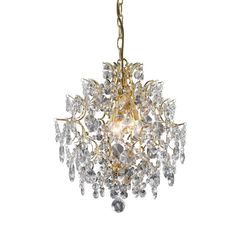 Chandelier with machine cut clear crystal glass prism gems on a gold metal frame