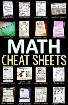 A collection free math cheat sheet pdf printables that can be given to students for their math notebooks or enlarged into anchor charts. Math Reference Sheet, Math Cheat Sheet, Cheat Sheets, Statistics Cheat Sheet, Math Word Walls, Math Help, Learn Math, Math Anchor Charts, Math Charts