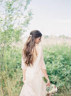Natural East Coast Maine Wedding Half Up Half Down Wedding Hair: #weddingdress #DIY: http://www.jessicalorren.com/