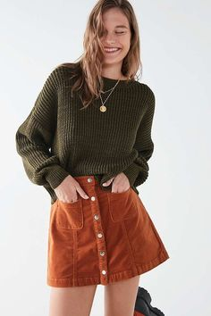 Slide View: 5: BDG Uncut brown Corduroy Button-Front Skirt UO