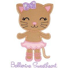 Ballerina Kitty Applique - Planet Applique Inc