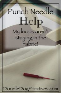 Punch Needle Help - My loops aren't staying in the fabric - DoodleDog Designs Pr. Punch Needle Help – My loops aren't staying in the fabric – DoodleDog Designs Primitives Hand Embroidery Stitches, Embroidery Needles, Cross Stitch Embroidery, Modern Embroidery, Needle Lace, Needle And Thread, Punch Needle Patterns, Craft Punches, Penny Rugs