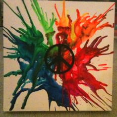 Peace. Melted crayon art.