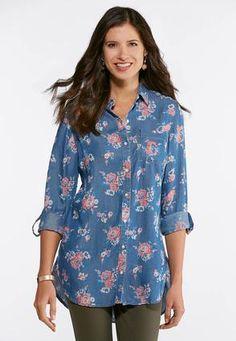 42df215da105 Cato Fashions Plus Size Chambray Floral Tunic #CatoFashions Cato Fashion  Plus Size, Floral Tunic